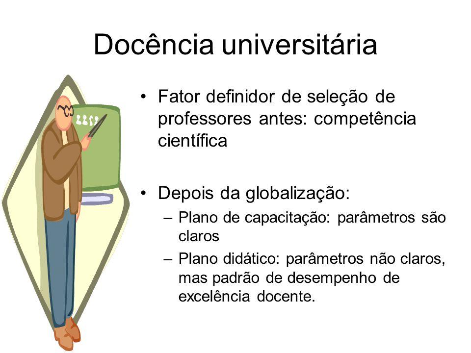 Docência universitária Fator definidor de seleção de professores antes: competência científica Depois da globalização: –Plano de capacitação: parâmetr