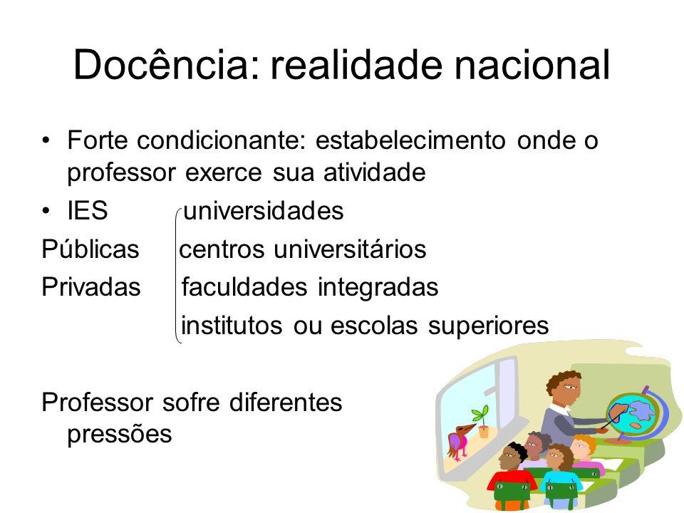 Docência: realidade nacional Forte condicionante: estabelecimento onde o professor exerce sua atividade IES universidades Públicas centros universitár