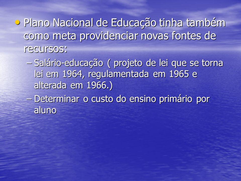 Plano Nacional de Educação tinha também como meta providenciar novas fontes de recursos: Plano Nacional de Educação tinha também como meta providencia