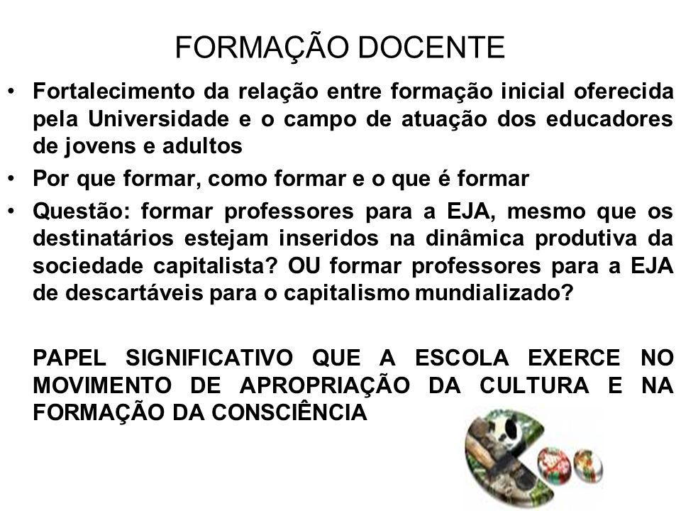 OBSERVAÇÕES FINAIS A EJA, enquanto campo educativo, tem sido cada vez mais povoada e tensionada por diversas realidades e por diferentes sujeitos que vivem situações de múltiplas desigualdades sociais Possibilidades que potencializam a EJA enquanto política pública como uma das respostas à superação das desigualdades sociais que se (re)atualizam no Brasil