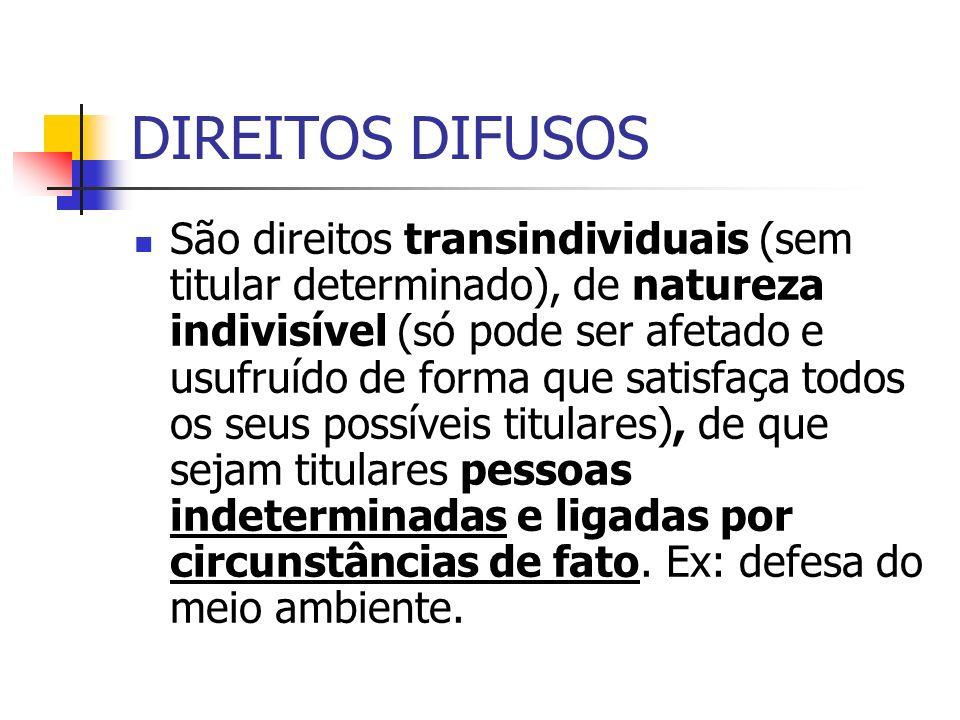DIREITOS DIFUSOS São direitos transindividuais (sem titular determinado), de natureza indivisível (só pode ser afetado e usufruído de forma que satisf