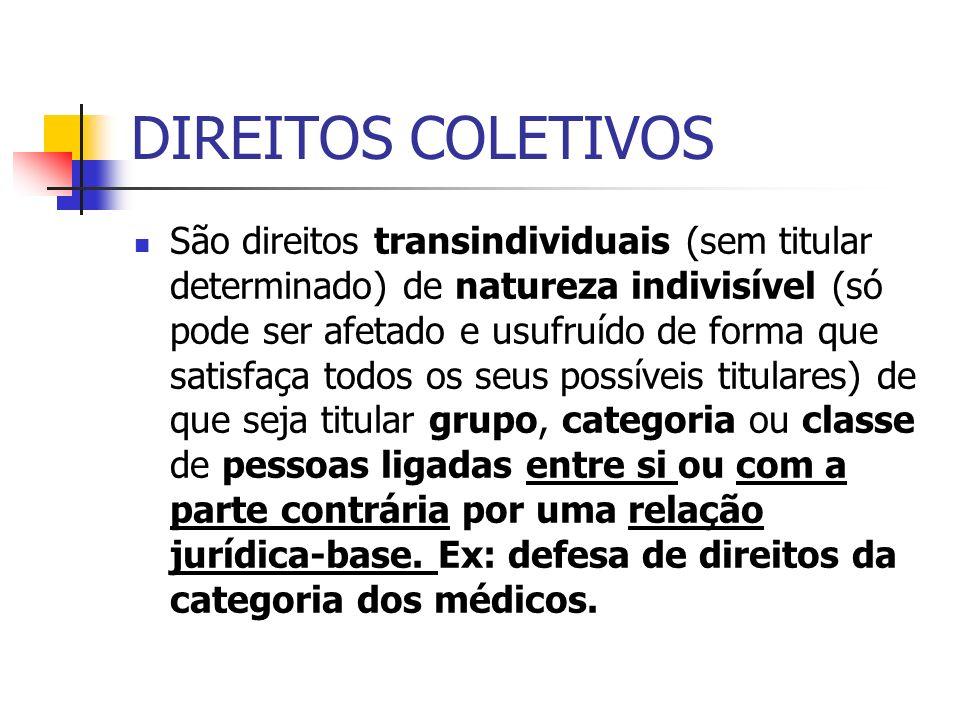 DIREITOS COLETIVOS São direitos transindividuais (sem titular determinado) de natureza indivisível (só pode ser afetado e usufruído de forma que satis