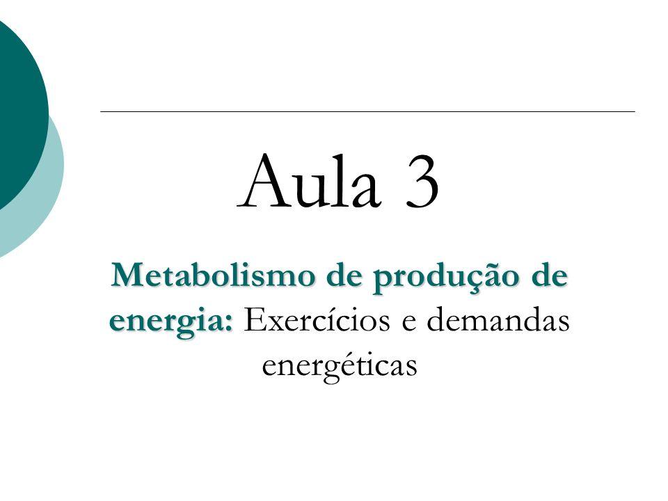 Aula 3 Metabolismo de produção de energia: Metabolismo de produção de energia: Exercícios e demandas energéticas