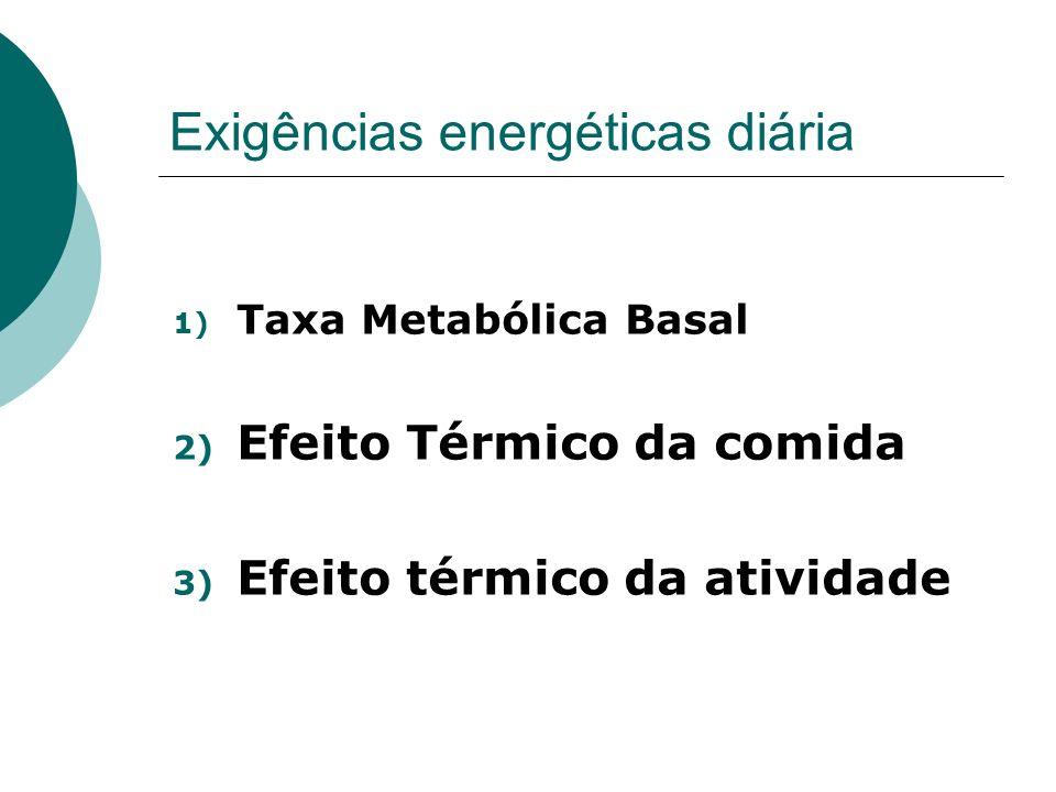 Exigências energéticas diária 1) Taxa Metabólica Basal 2) Efeito Térmico da comida 3) Efeito térmico da atividade