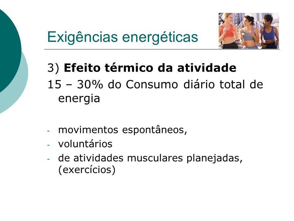 Exigências energéticas 3) Efeito térmico da atividade 15 – 30% do Consumo diário total de energia - movimentos espontâneos, - voluntários - de ativida
