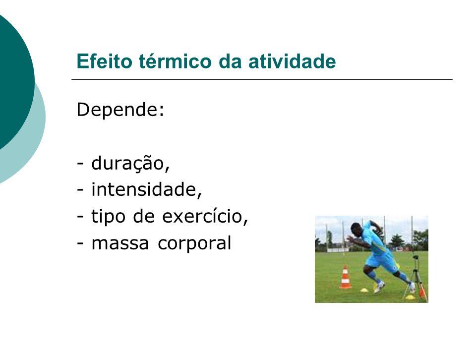 Efeito térmico da atividade Depende: - duração, - intensidade, - tipo de exercício, - massa corporal