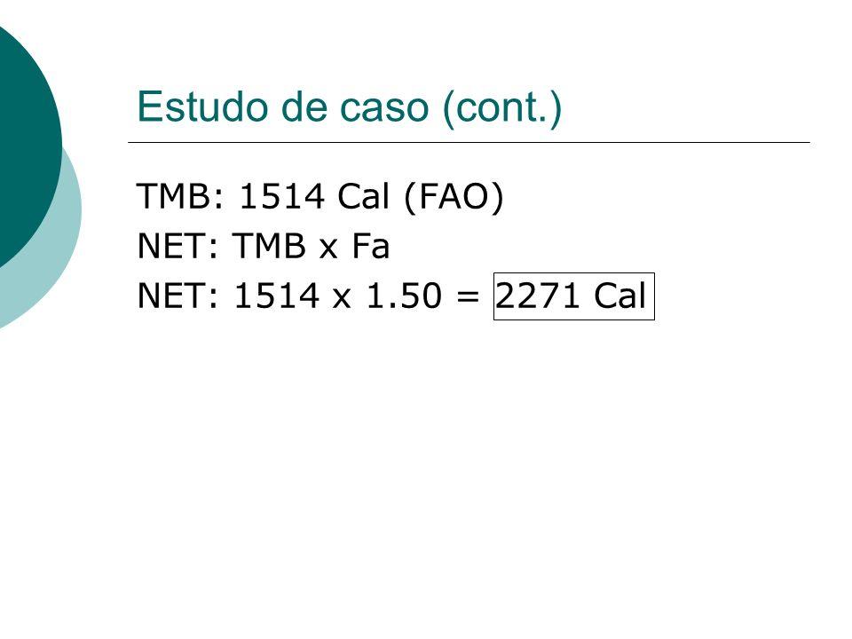 Estudo de caso (cont.) TMB: 1514 Cal (FAO) NET: TMB x Fa NET: 1514 x 1.50 = 2271 Cal