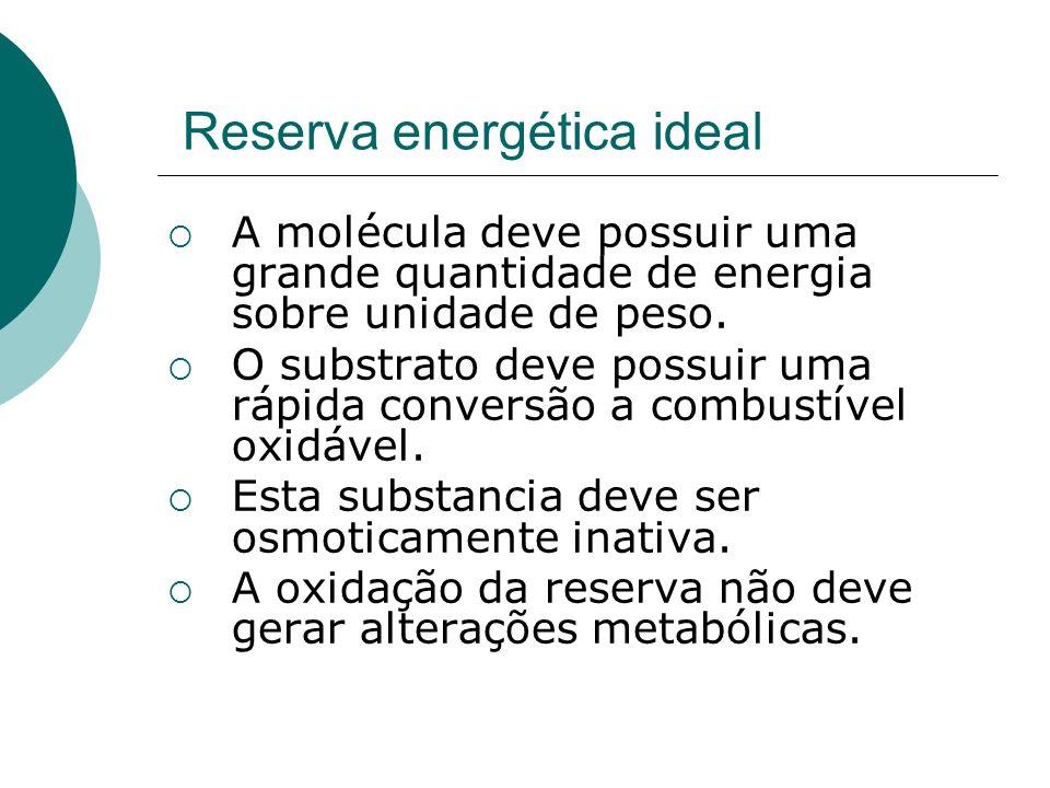 Reserva energética ideal A molécula deve possuir uma grande quantidade de energia sobre unidade de peso. O substrato deve possuir uma rápida conversão