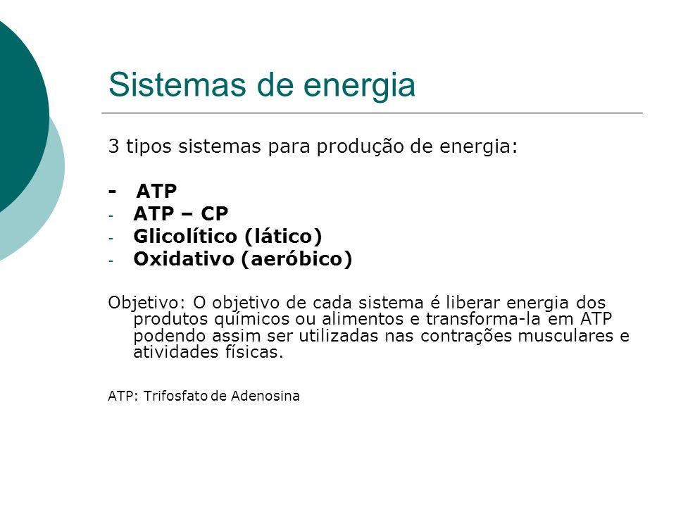 Sistemas de energia 3 tipos sistemas para produção de energia: - ATP - ATP – CP - Glicolítico (lático) - Oxidativo (aeróbico) Objetivo: O objetivo de