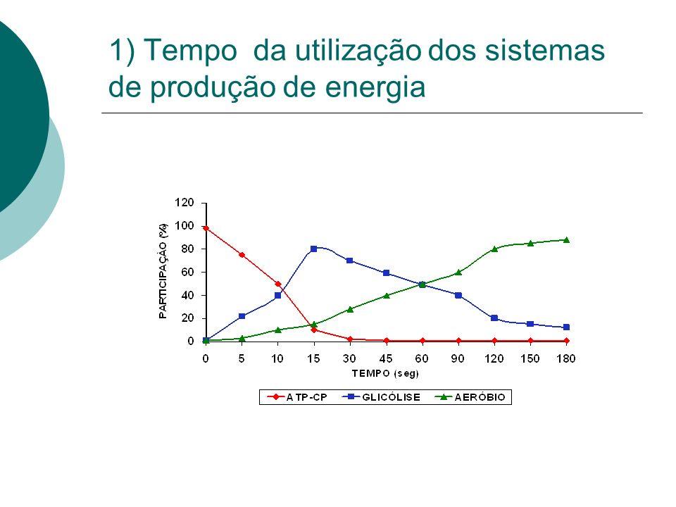 1) Tempo da utilização dos sistemas de produção de energia