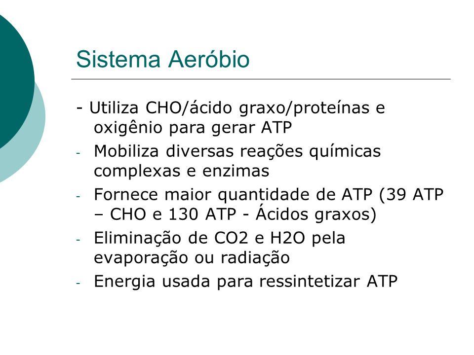 Sistema Aeróbio - Utiliza CHO/ácido graxo/proteínas e oxigênio para gerar ATP - Mobiliza diversas reações químicas complexas e enzimas - Fornece maior