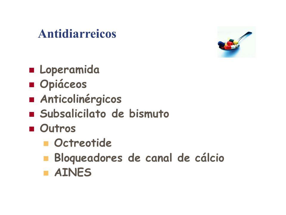 Loperamida Opiáceos Anticolinérgicos Subsalicilato de bismuto Outros Octreotide Bloqueadores de canal de cálcio AINES Antidiarreicos