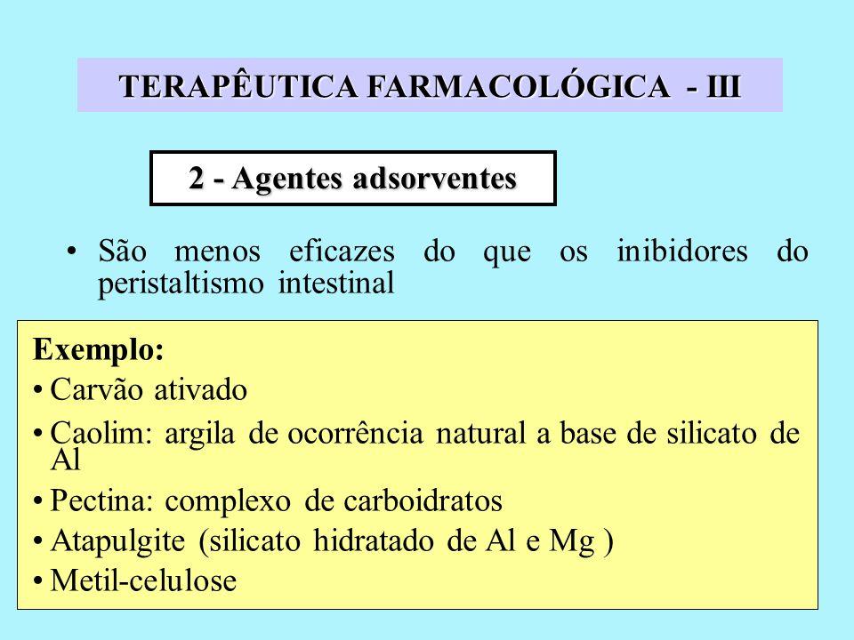 São menos eficazes do que os inibidores do peristaltismo intestinal 2 - Agentes adsorventes Exemplo: Carvão ativado Caolim: argila de ocorrência natural a base de silicato de Al Pectina: complexo de carboidratos Atapulgite (silicato hidratado de Al e Mg ) Metil-celulose