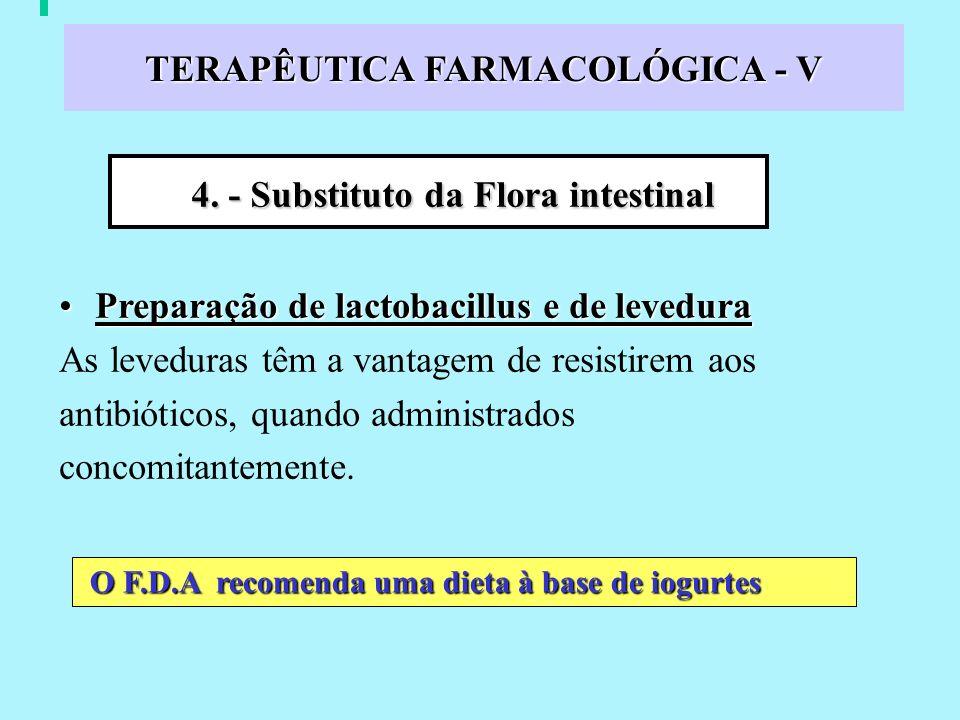 TERAPÊUTICA FARMACOLÓGICA - V Preparação de lactobacillus e de leveduraPreparação de lactobacillus e de levedura As leveduras têm a vantagem de resistirem aos antibióticos, quando administrados concomitantemente.