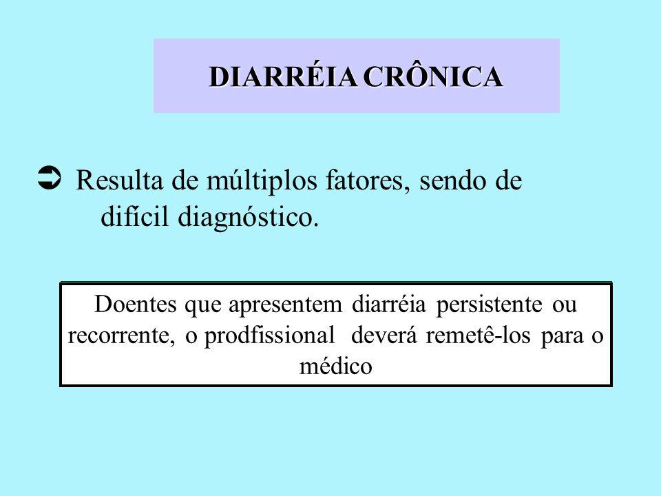 DIARRÉIA CRÔNICA Resulta de múltiplos fatores, sendo de difícil diagnóstico. Doentes que apresentem diarréia persistente ou recorrente, o prodfissiona