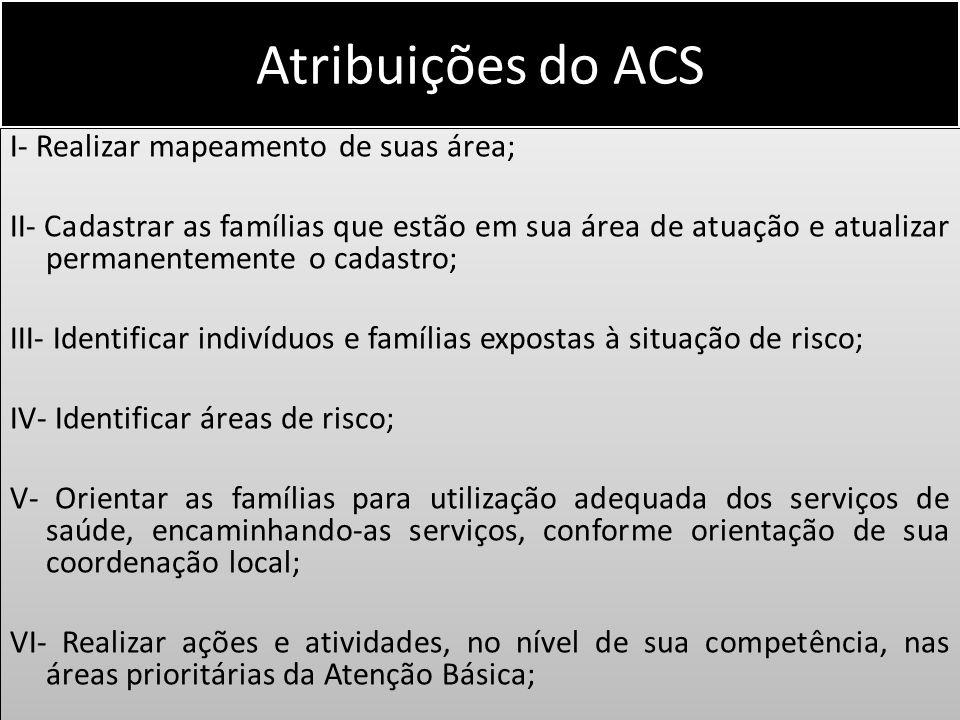 Atribuições do ACS I- Realizar mapeamento de suas área; II- Cadastrar as famílias que estão em sua área de atuação e atualizar permanentemente o cadas