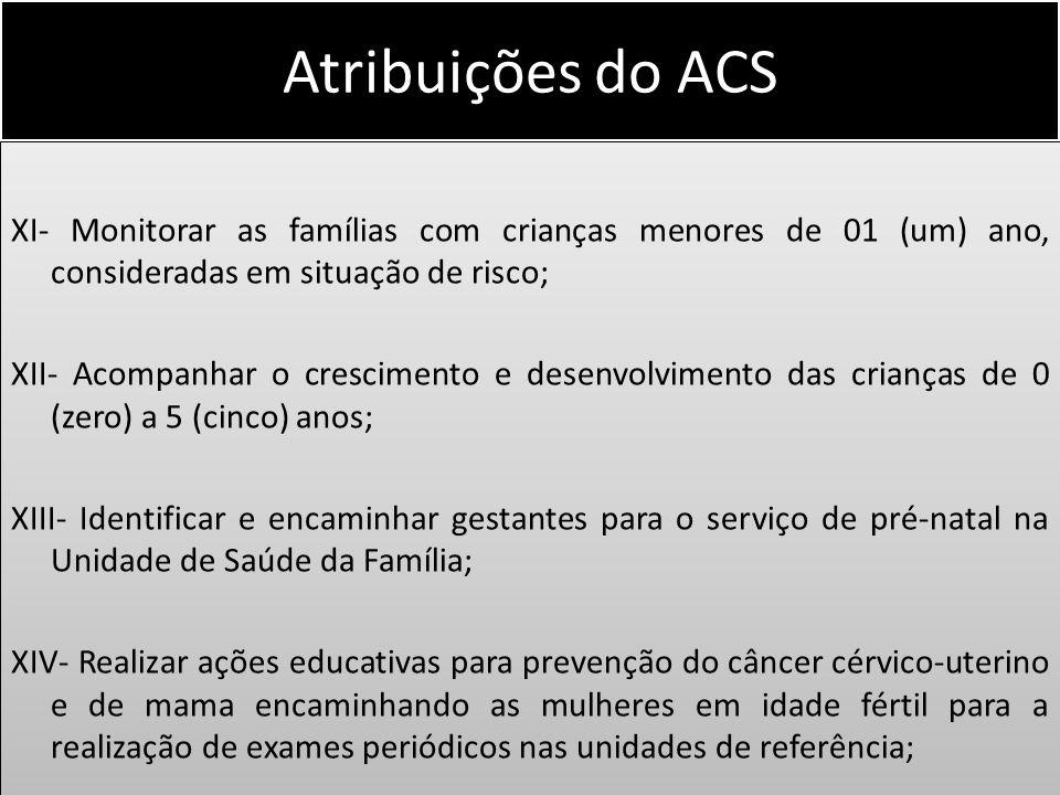 Atribuições do ACS XI- Monitorar as famílias com crianças menores de 01 (um) ano, consideradas em situação de risco; XII- Acompanhar o crescimento e d
