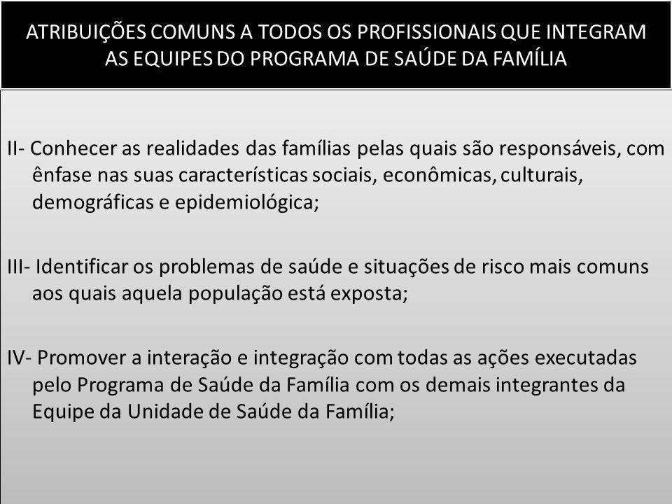 ATRIBUIÇÕES COMUNS A TODOS OS PROFISSIONAIS QUE INTEGRAM AS EQUIPES DO PROGRAMA DE SAÚDE DA FAMÍLIA II- Conhecer as realidades das famílias pelas quai