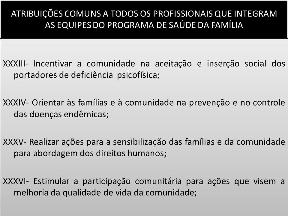 ATRIBUIÇÕES COMUNS A TODOS OS PROFISSIONAIS QUE INTEGRAM AS EQUIPES DO PROGRAMA DE SAÚDE DA FAMÍLIA XXXIII- Incentivar a comunidade na aceitação e ins