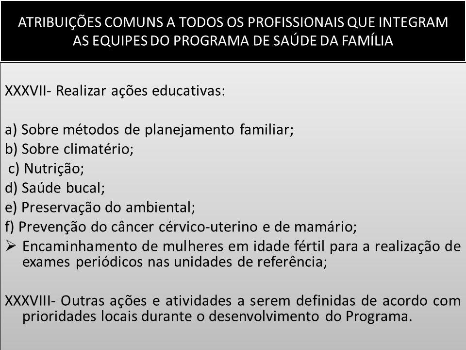 ATRIBUIÇÕES COMUNS A TODOS OS PROFISSIONAIS QUE INTEGRAM AS EQUIPES DO PROGRAMA DE SAÚDE DA FAMÍLIA XXXVII- Realizar ações educativas: a) Sobre método
