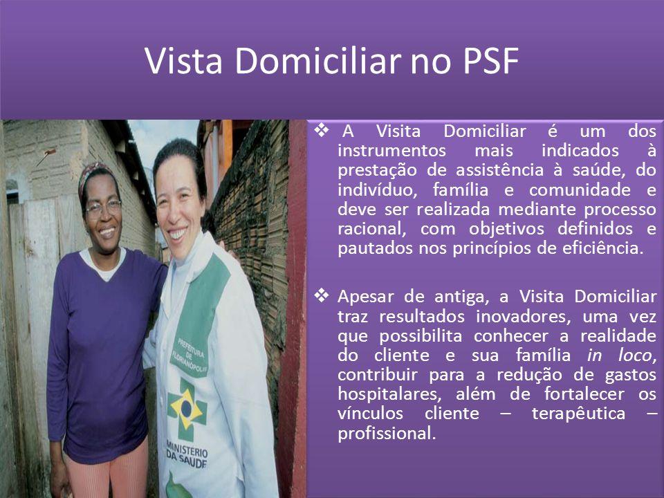 Vista Domiciliar no PSF A Visita Domiciliar é um dos instrumentos mais indicados à prestação de assistência à saúde, do indivíduo, família e comunidad
