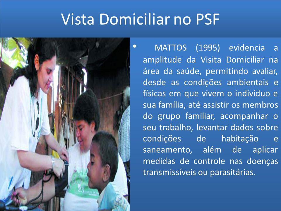 Vista Domiciliar no PSF MATTOS (1995) evidencia a amplitude da Visita Domiciliar na área da saúde, permitindo avaliar, desde as condições ambientais e