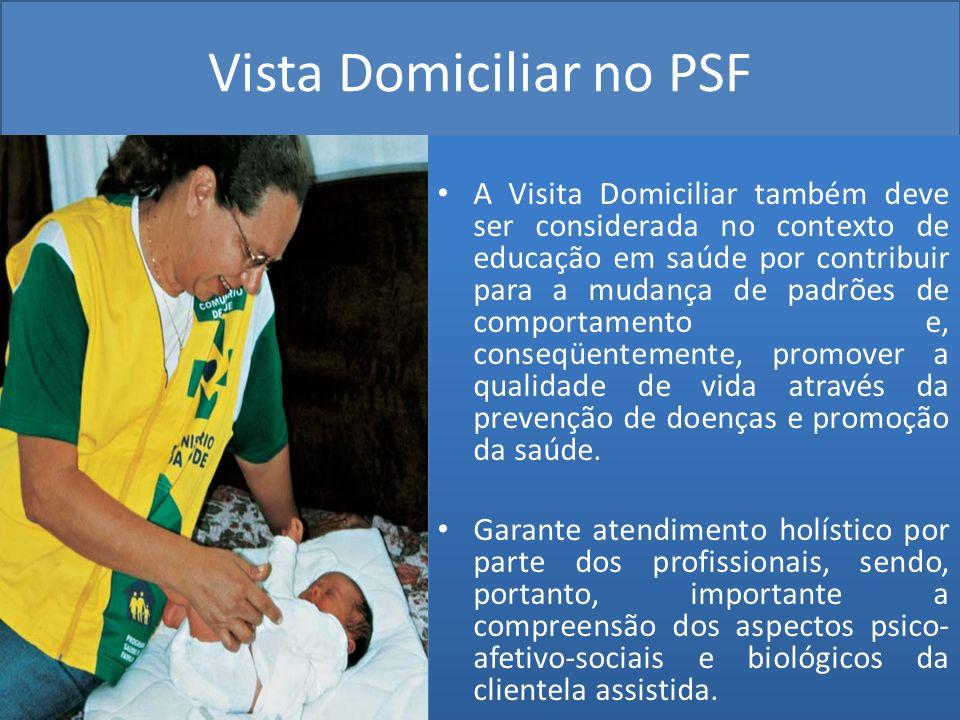 Vista Domiciliar no PSF A Visita Domiciliar também deve ser considerada no contexto de educação em saúde por contribuir para a mudança de padrões de c
