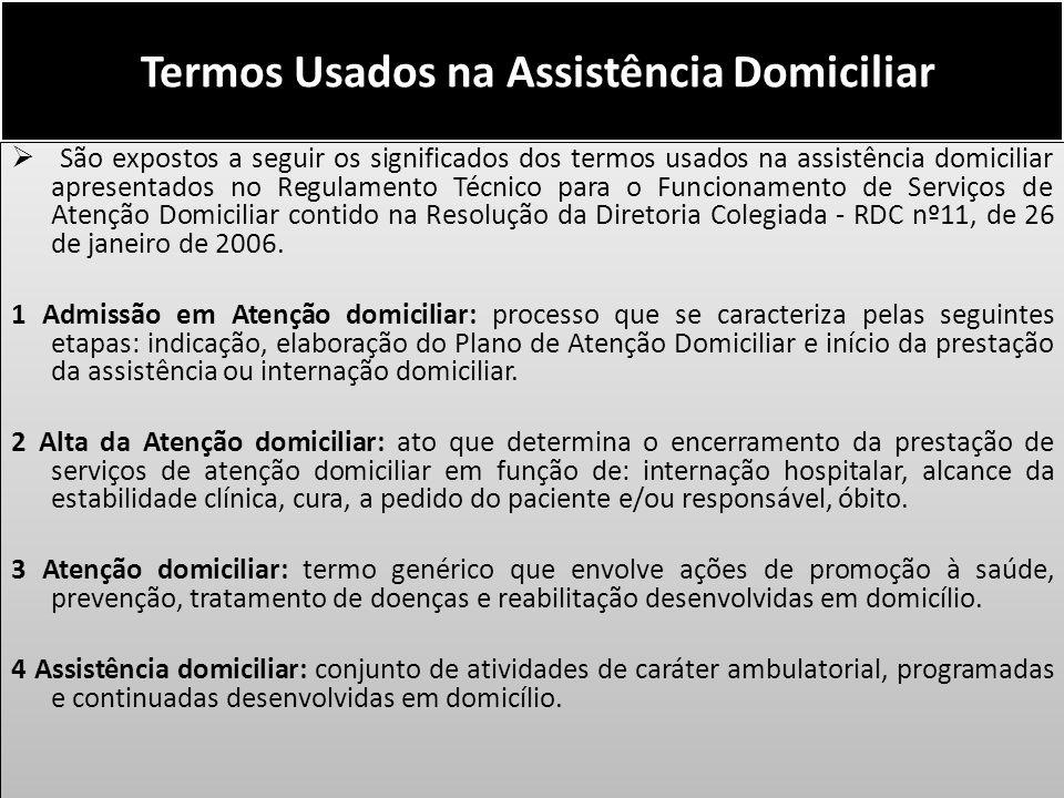 Termos Usados na Assistência Domiciliar São expostos a seguir os significados dos termos usados na assistência domiciliar apresentados no Regulamento