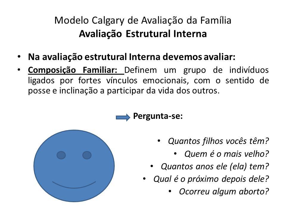 Modelo Calgary de Avaliação da Família Avaliação Estrutural Interna Na avaliação estrutural Interna devemos avaliar: Composição Familiar: Definem um g