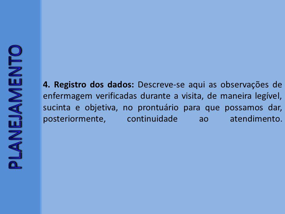 4. Registro dos dados: Descreve-se aqui as observações de enfermagem verificadas durante a visita, de maneira legível, sucinta e objetiva, no prontuár