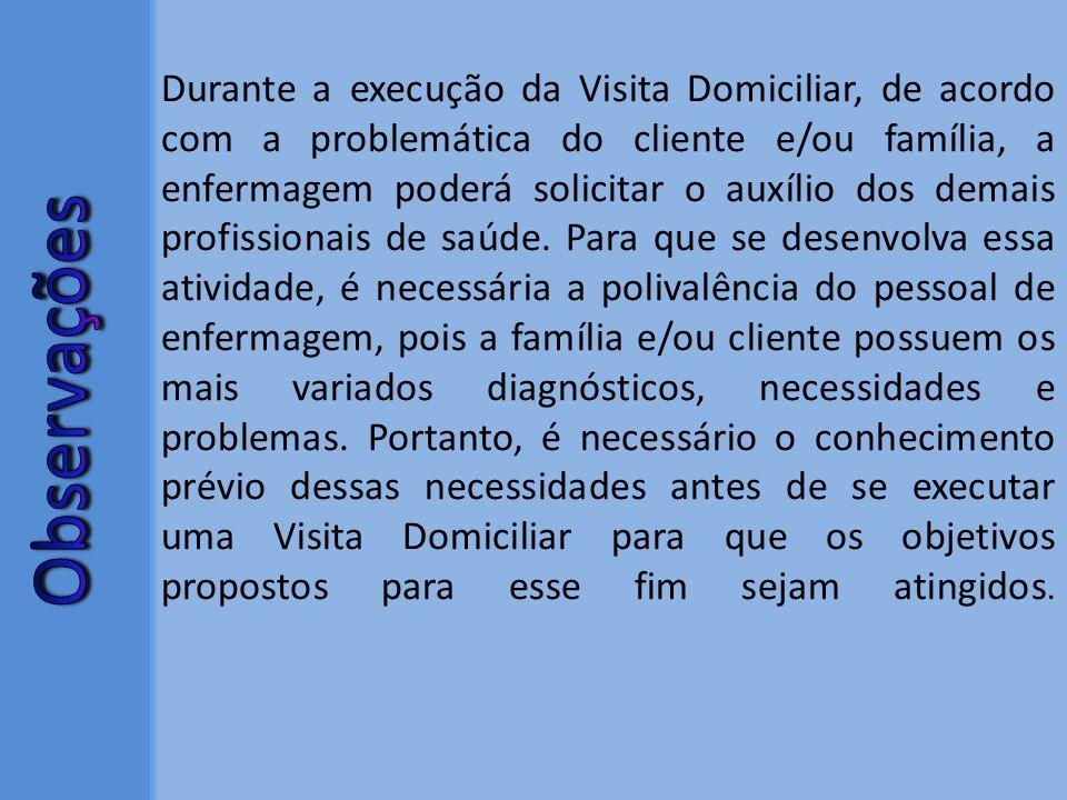 Durante a execução da Visita Domiciliar, de acordo com a problemática do cliente e/ou família, a enfermagem poderá solicitar o auxílio dos demais prof