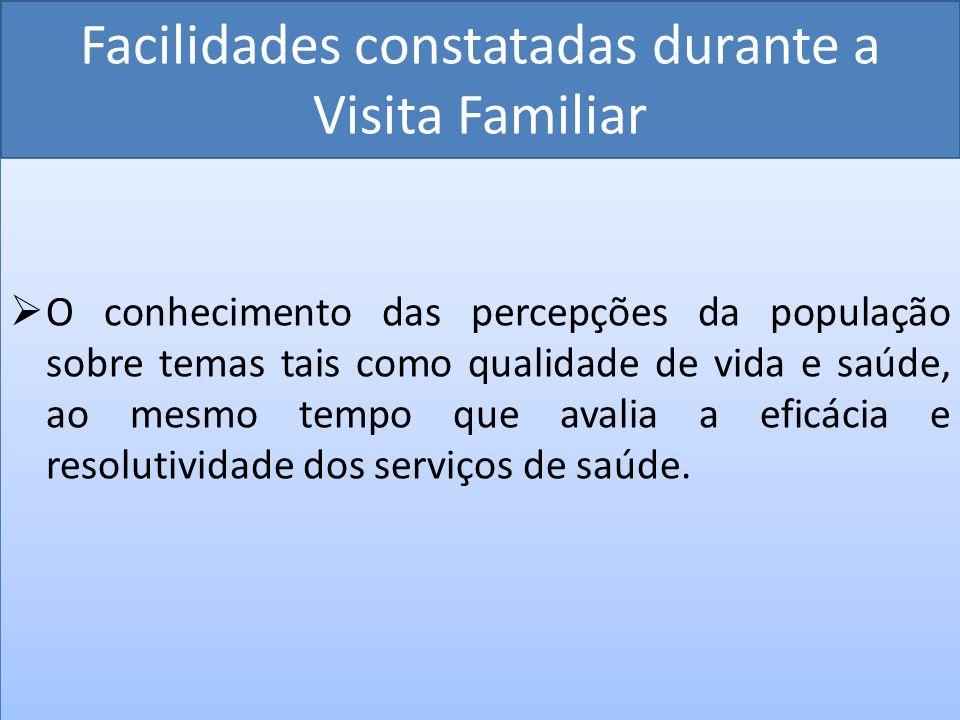 Facilidades constatadas durante a Visita Familiar O conhecimento das percepções da população sobre temas tais como qualidade de vida e saúde, ao mesmo
