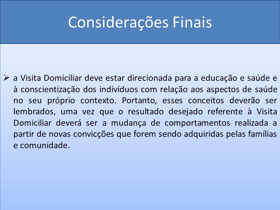 Considerações Finais a Visita Domiciliar deve estar direcionada para a educação e saúde e à conscientização dos indivíduos com relação aos aspectos de