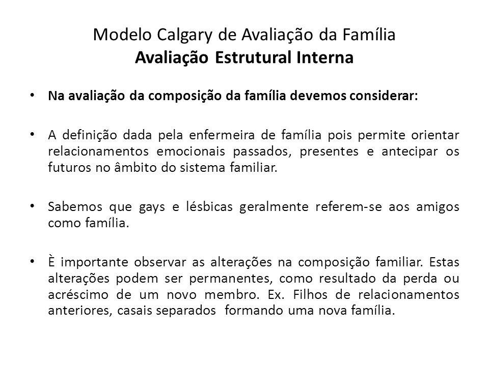 Modelo Calgary de Avaliação da Família Avaliação Estrutural Interna Na avaliação da composição da família devemos considerar: A definição dada pela en