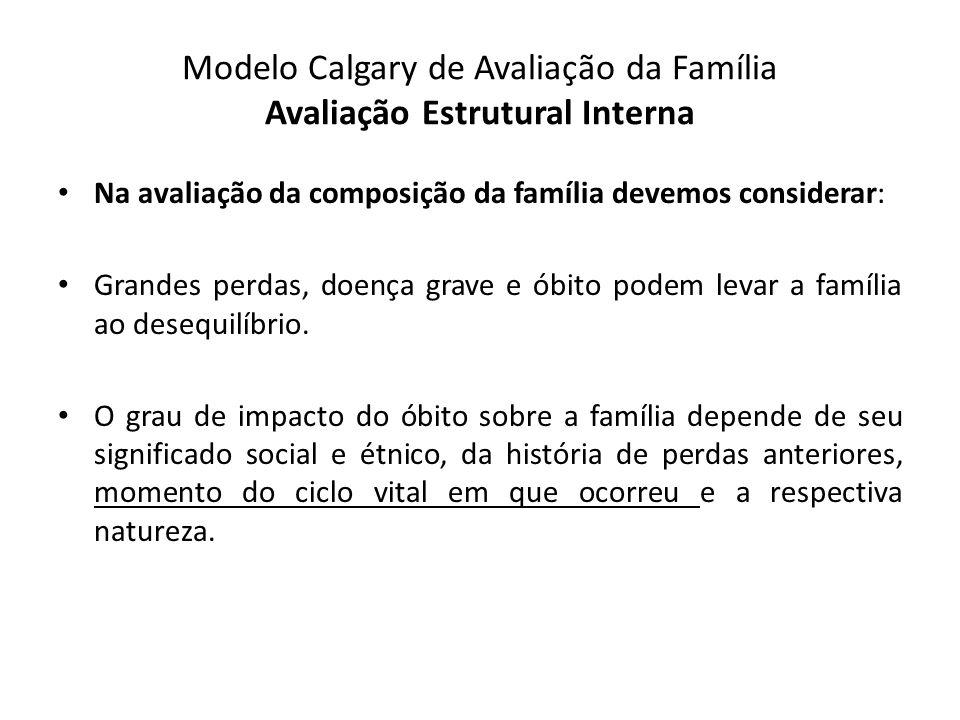 Modelo Calgary de Avaliação da Família Avaliação Estrutural Interna Na avaliação da composição da família devemos considerar: Grandes perdas, doença g