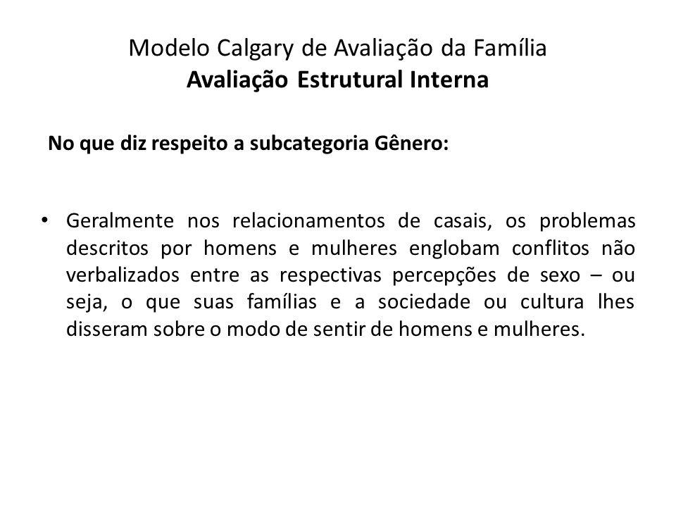 Modelo Calgary de Avaliação da Família Avaliação Estrutural Interna No que diz respeito a subcategoria Gênero: Geralmente nos relacionamentos de casai