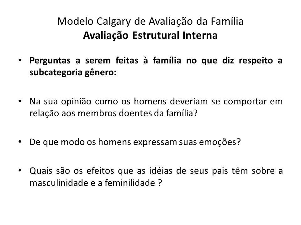 Modelo Calgary de Avaliação da Família Avaliação Estrutural Interna Perguntas a serem feitas à família no que diz respeito a subcategoria gênero: Na s