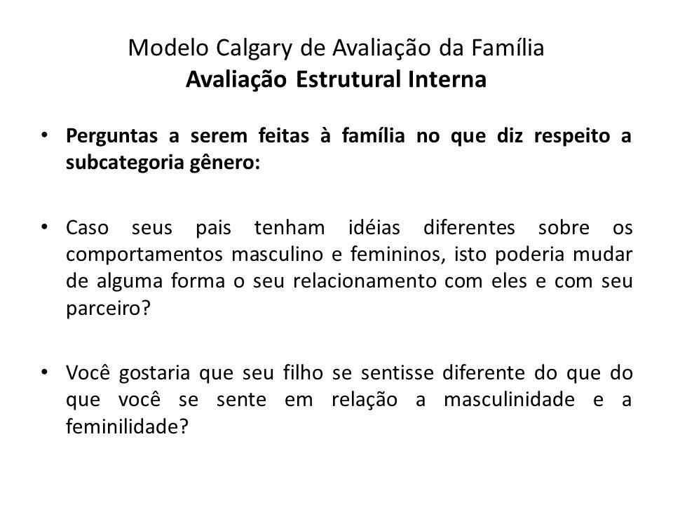 Modelo Calgary de Avaliação da Família Avaliação Estrutural Interna Perguntas a serem feitas à família no que diz respeito a subcategoria gênero: Caso