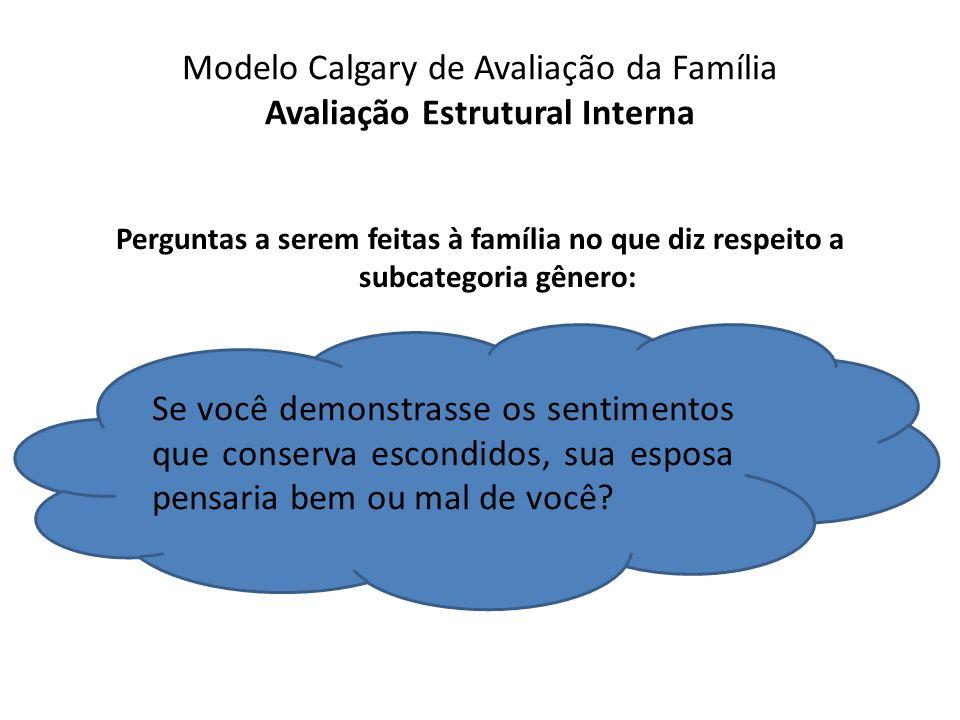 Modelo Calgary de Avaliação da Família Avaliação Estrutural Interna Perguntas a serem feitas à família no que diz respeito a subcategoria gênero: Se v