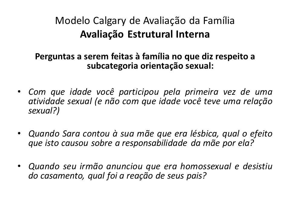 Modelo Calgary de Avaliação da Família Avaliação Estrutural Interna Perguntas a serem feitas à família no que diz respeito a subcategoria orientação s