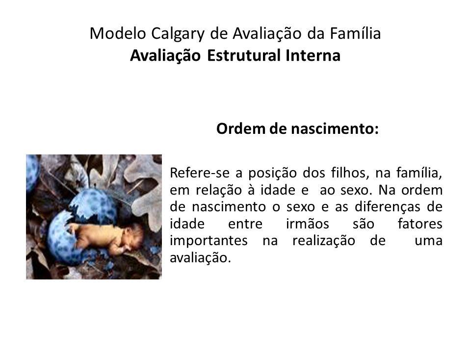 Modelo Calgary de Avaliação da Família Avaliação Estrutural Interna Ordem de nascimento: Refere-se a posição dos filhos, na família, em relação à idad