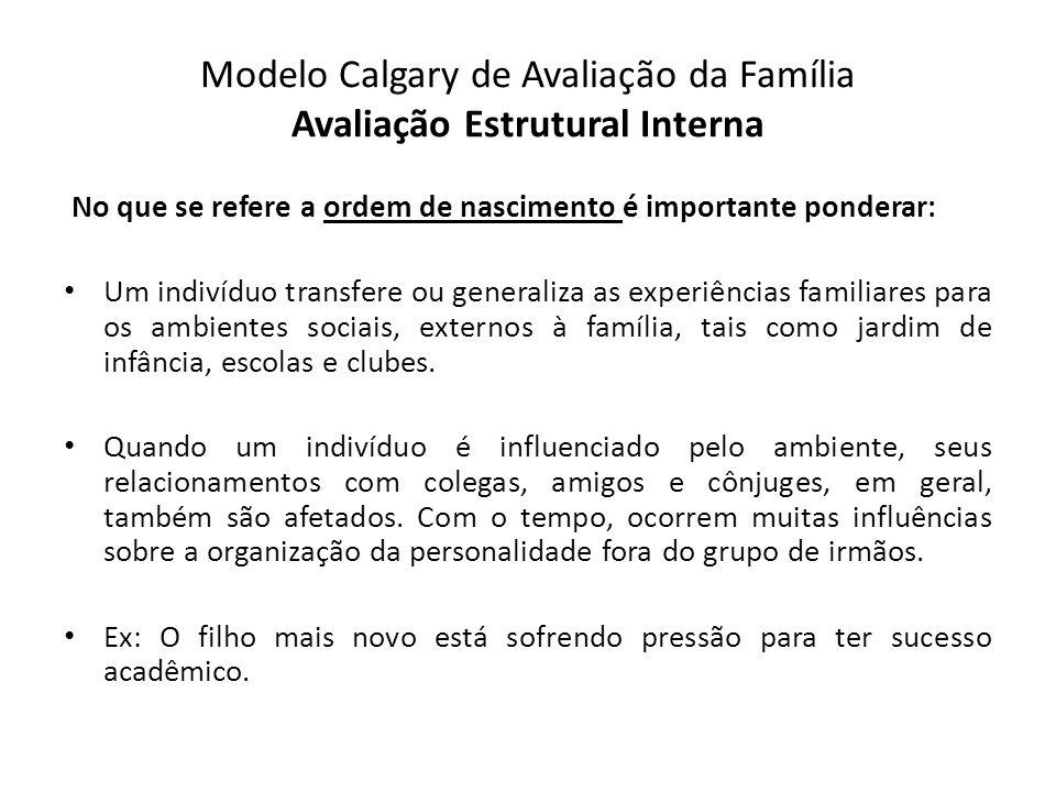 Modelo Calgary de Avaliação da Família Avaliação Estrutural Interna No que se refere a ordem de nascimento é importante ponderar: Um indivíduo transfe