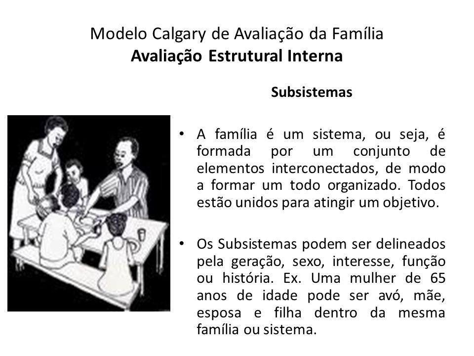 Modelo Calgary de Avaliação da Família Avaliação Estrutural Interna Subsistemas A família é um sistema, ou seja, é formada por um conjunto de elemento