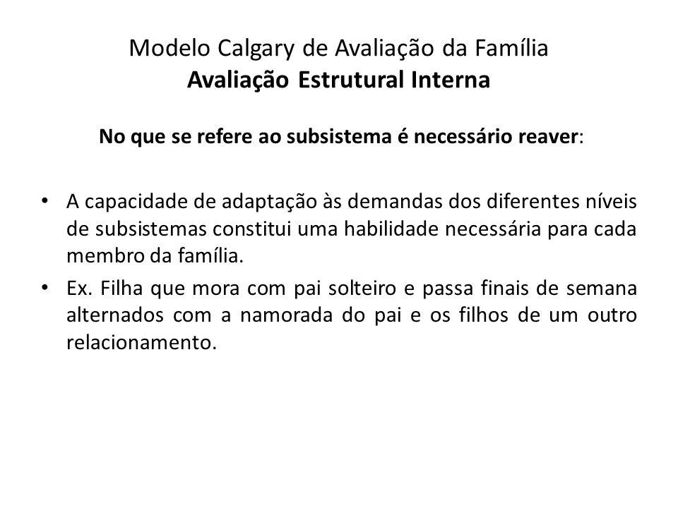 Modelo Calgary de Avaliação da Família Avaliação Estrutural Interna No que se refere ao subsistema é necessário reaver: A capacidade de adaptação às d