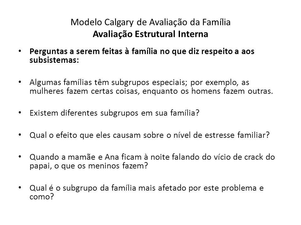 Modelo Calgary de Avaliação da Família Avaliação Estrutural Interna Perguntas a serem feitas à família no que diz respeito a aos subsistemas: Algumas