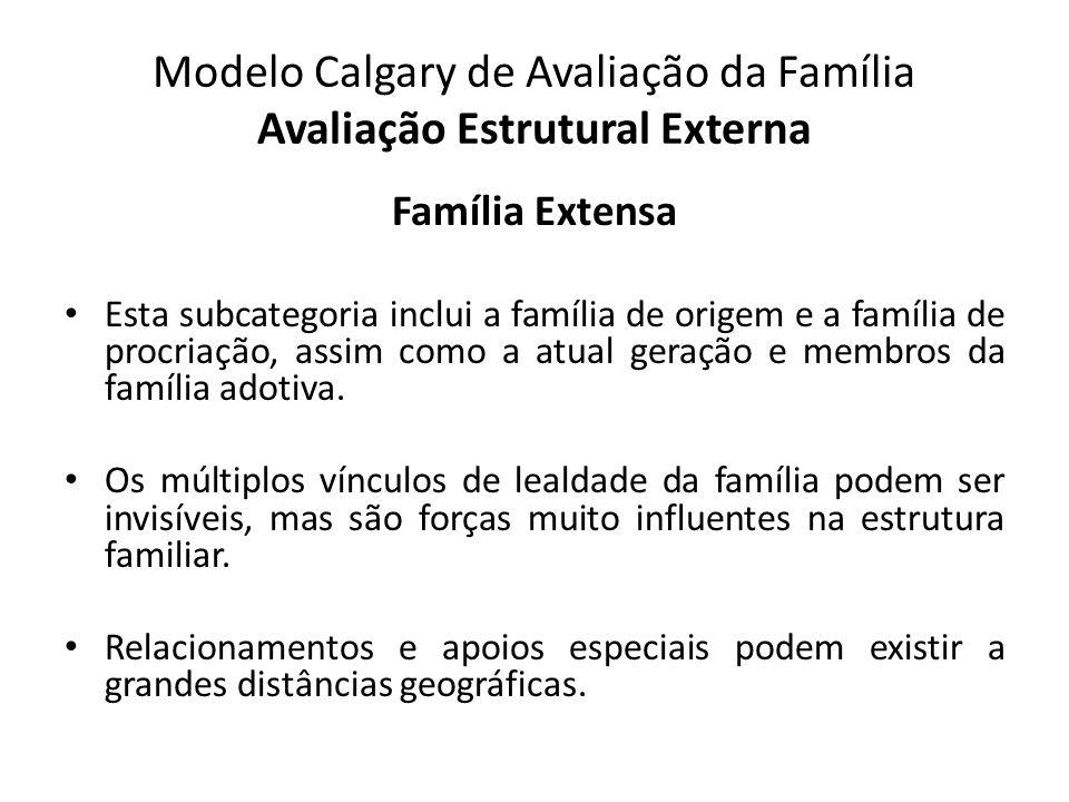 Modelo Calgary de Avaliação da Família Avaliação Estrutural Externa Família Extensa Esta subcategoria inclui a família de origem e a família de procri