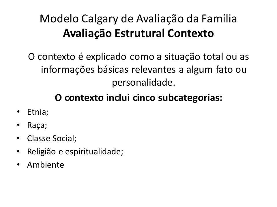 Modelo Calgary de Avaliação da Família Avaliação Estrutural Contexto O contexto é explicado como a situação total ou as informações básicas relevantes