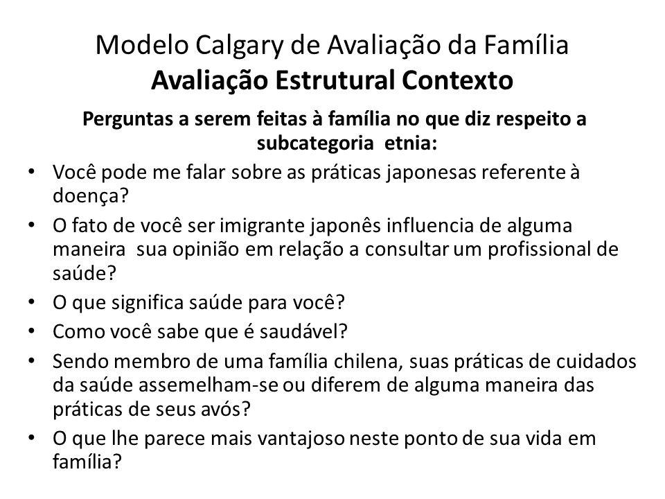 Modelo Calgary de Avaliação da Família Avaliação Estrutural Contexto Perguntas a serem feitas à família no que diz respeito a subcategoria etnia: Você