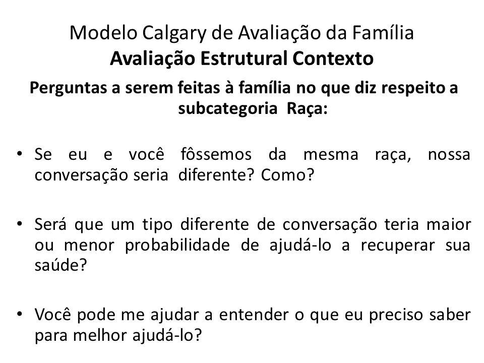Modelo Calgary de Avaliação da Família Avaliação Estrutural Contexto Perguntas a serem feitas à família no que diz respeito a subcategoria Raça: Se eu
