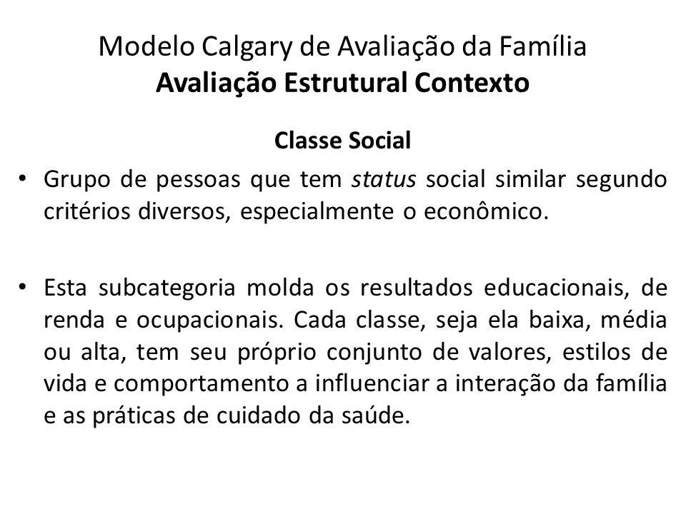 Modelo Calgary de Avaliação da Família Avaliação Estrutural Contexto Classe Social Grupo de pessoas que tem status social similar segundo critérios di